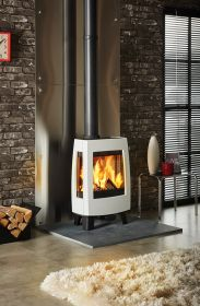 Dovre Sense 113 Wood Burning Stove - Pure White Enamel / Glass Sides