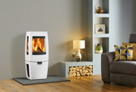 Dovre Sense 203 Wood Burning Stove - Pure White Enamel / Glass Sides