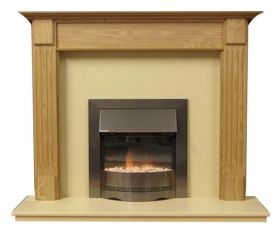Henley 48 Inch Surround W/ Marble Fireplace - Natural Oak/Mocha Beige