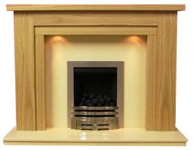 Lichfield Natural Oak Finish Surround with Mocha Beige Marble Fireplace