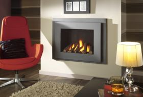 Crystal Manhattan HE Log Gas Fire - Graphite W/ Black Interior
