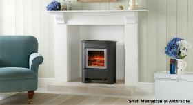 Gazco Small Manhattan Electric Stove - Brushed Stainless